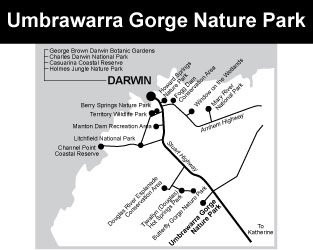 map of Umbrawarra courtesy of http://www.parksandwildlife.nt.gov.au for the promotion of self drive travel in Northern Territory